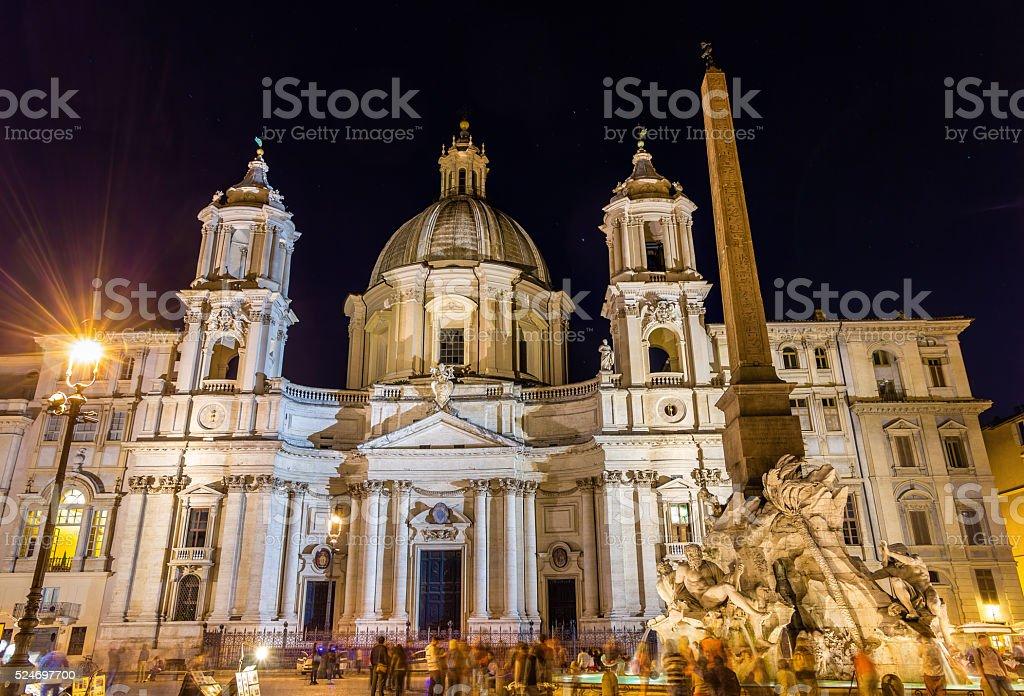 Saint Agnese in Agone basilica on piazza Navona stock photo