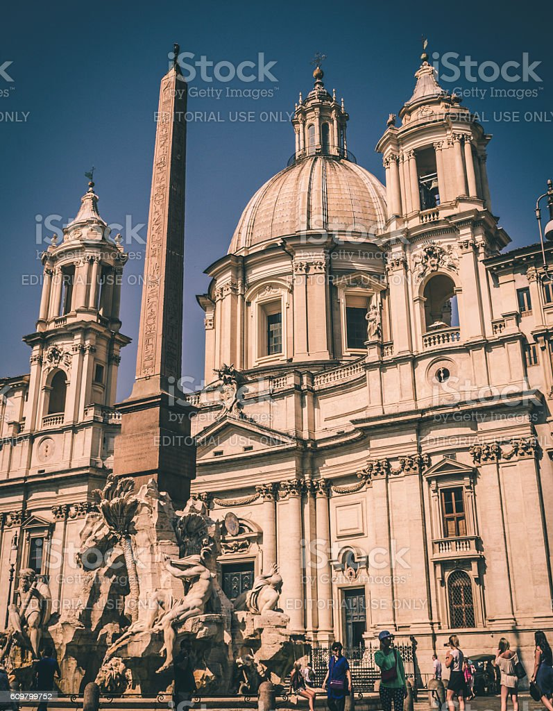 Saint Agnese in Agone church in Piazza Navona Rome Italy stock photo
