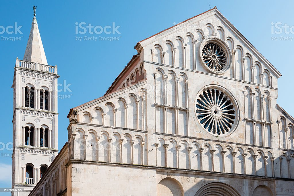 Saint Anastasia Cathedral and bell tower, Zadar, Croatia stock photo