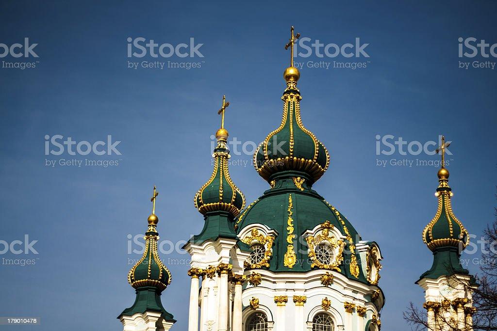 Saint Andrew's cathedral over blue sky in Kiev, Ukraine stock photo