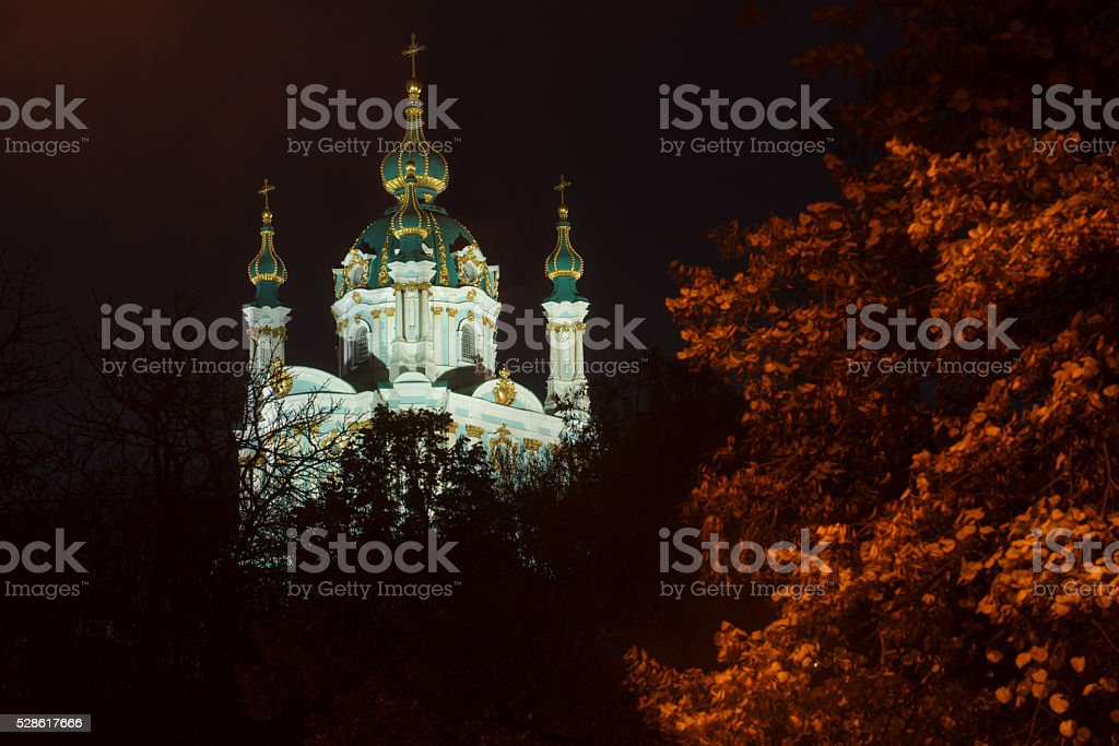 Saint Andrew's Church night view stock photo