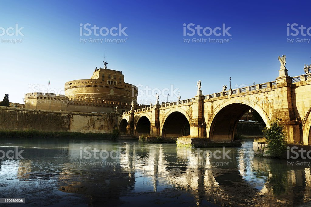 Saint Angel Fortress  and Tiber river in Rome, Italy royalty-free stock photo