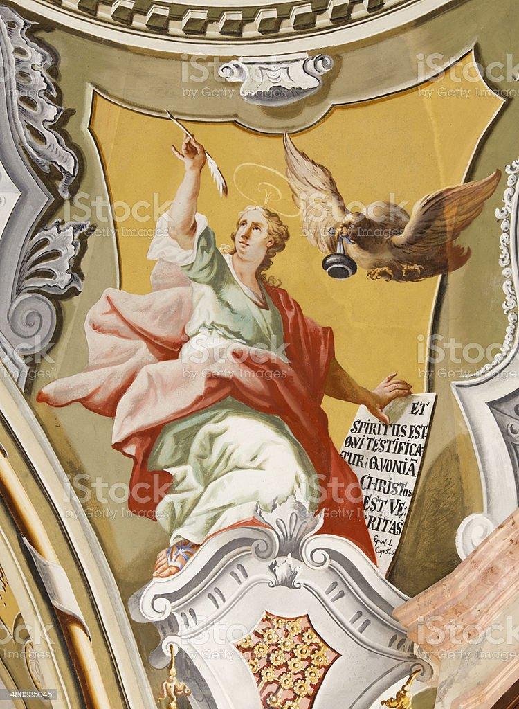 Saint Anton, Slovakia - St. John the Evangelist fresco stock photo