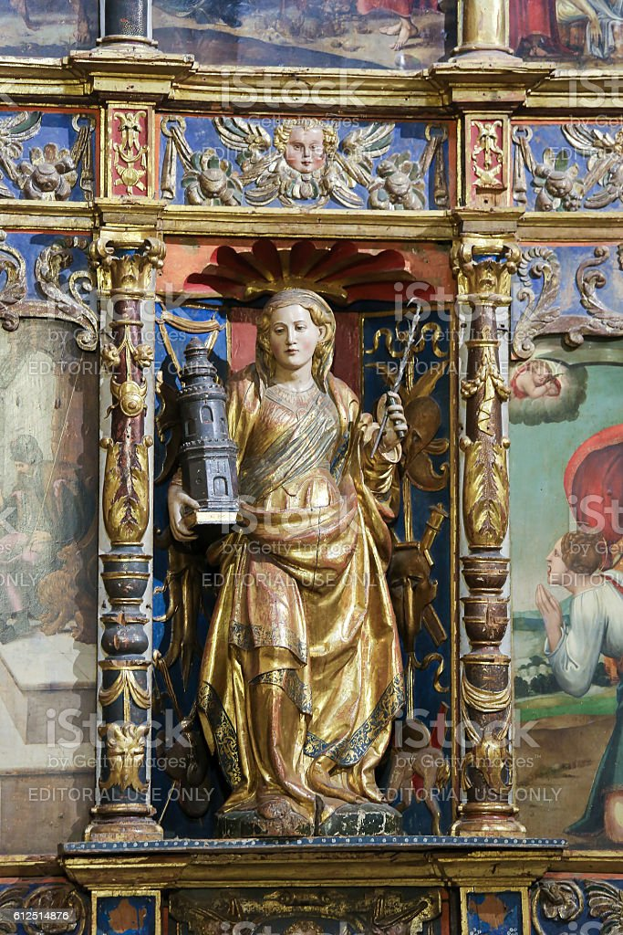 Saint Barbara in the Old Cathedral of Salamanca stock photo
