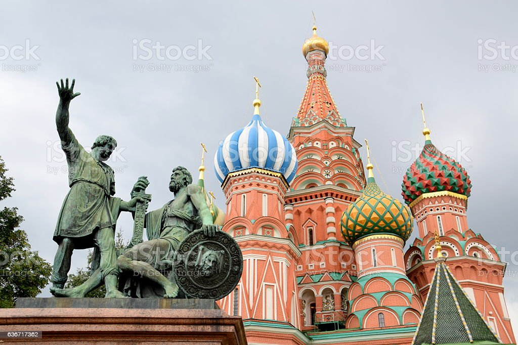 Saint Basil Cathedral and Statue of Minin and Pozharsky stock photo