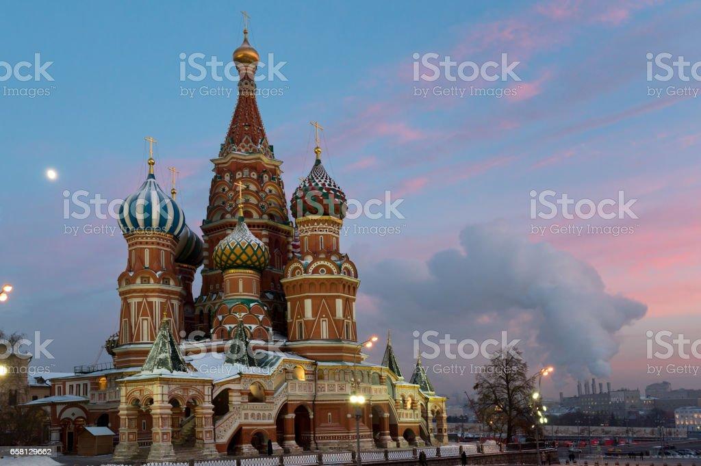 Saint Basil cathedral at night stock photo