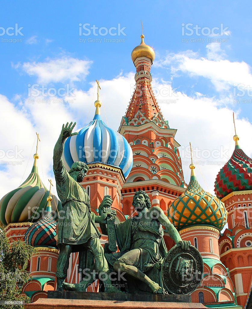 Saint Basil Cathedral cupola, Moscow, Russia stock photo