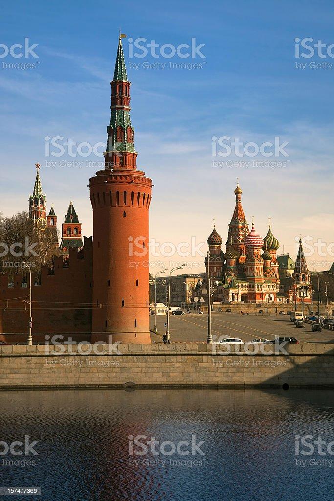 Saint Basil's Cathedral and Kremlin tower (XXXL) stock photo