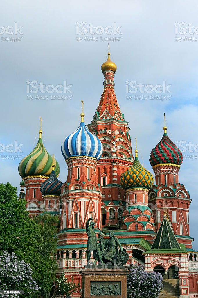Saint Basil's Cathedral and monument to Minin and Pozharsky. Moscow stock photo