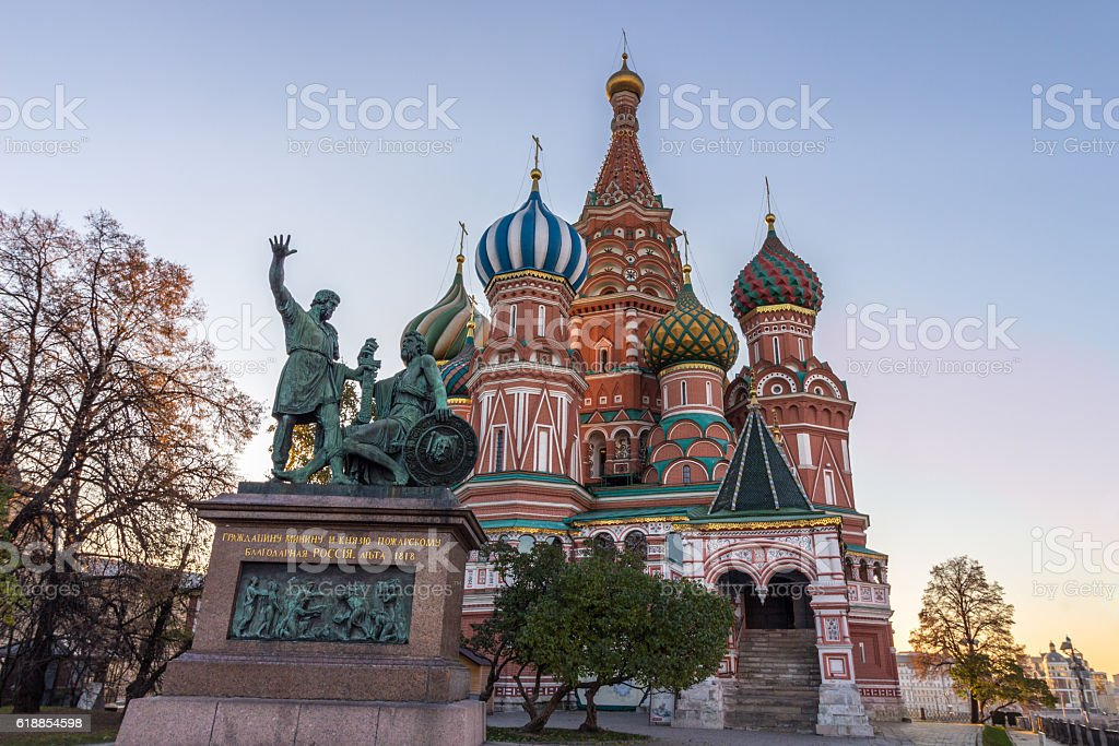 Saint Basil's Cathedral and monument to Minin and Pozharsky stock photo