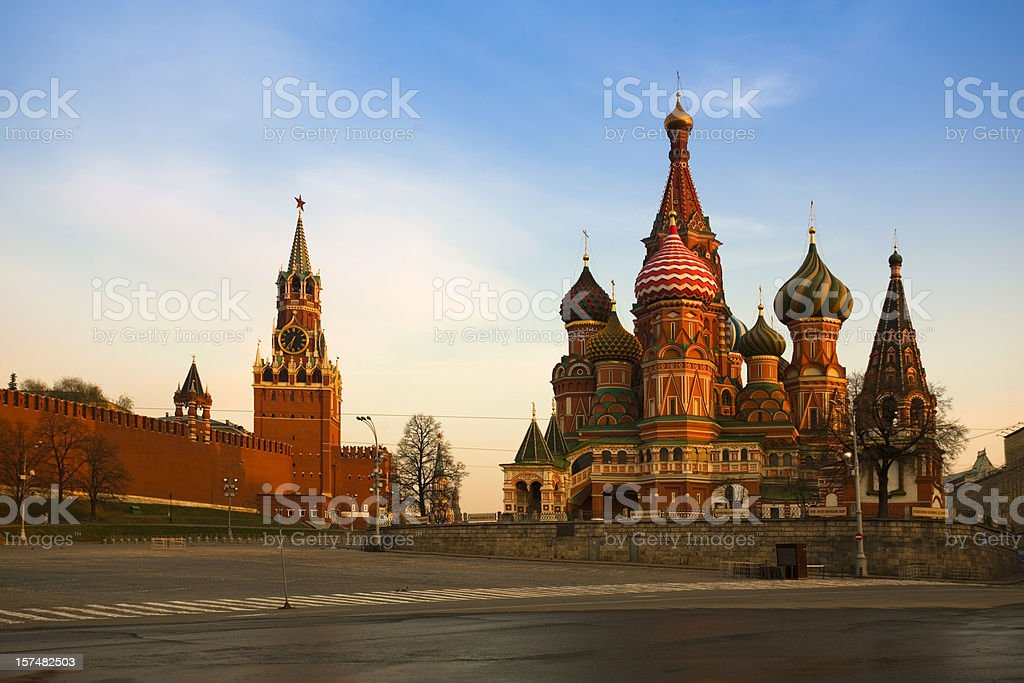 Saint Basil's Cathedral and The Kremlin in Moscow (XXXL) stock photo