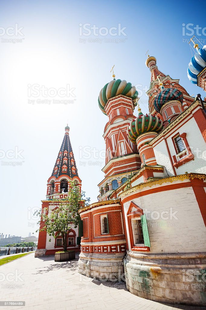 Saint Basil's Cathedral at sunny day in Moscow stock photo