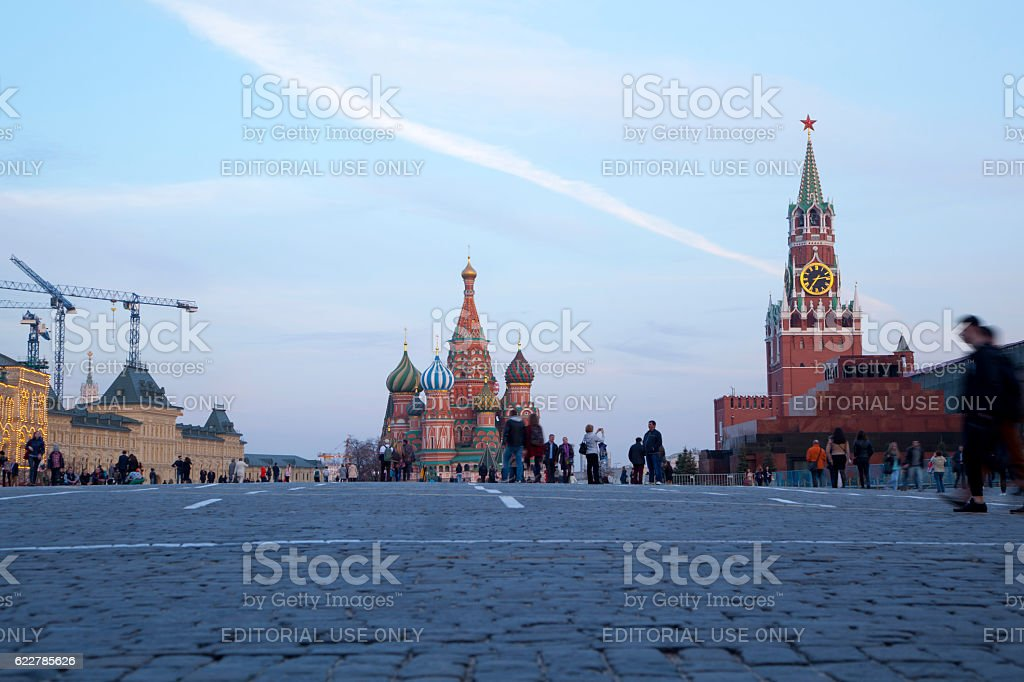 Saint Basil's Cathedral at twilight time stock photo