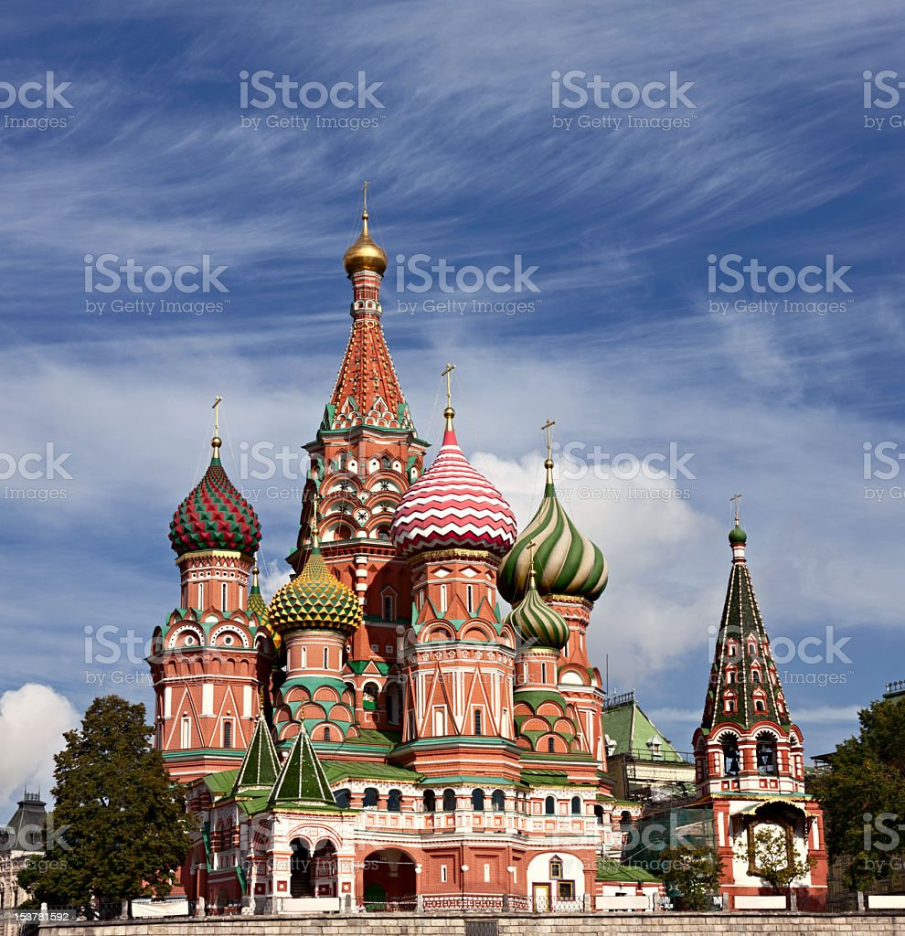 Saint Basils Cathedral in Moscow pictured against blue sky stock photo