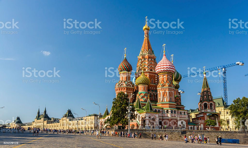 Saint Basil's Cathedral in Red Square - Moscow stock photo