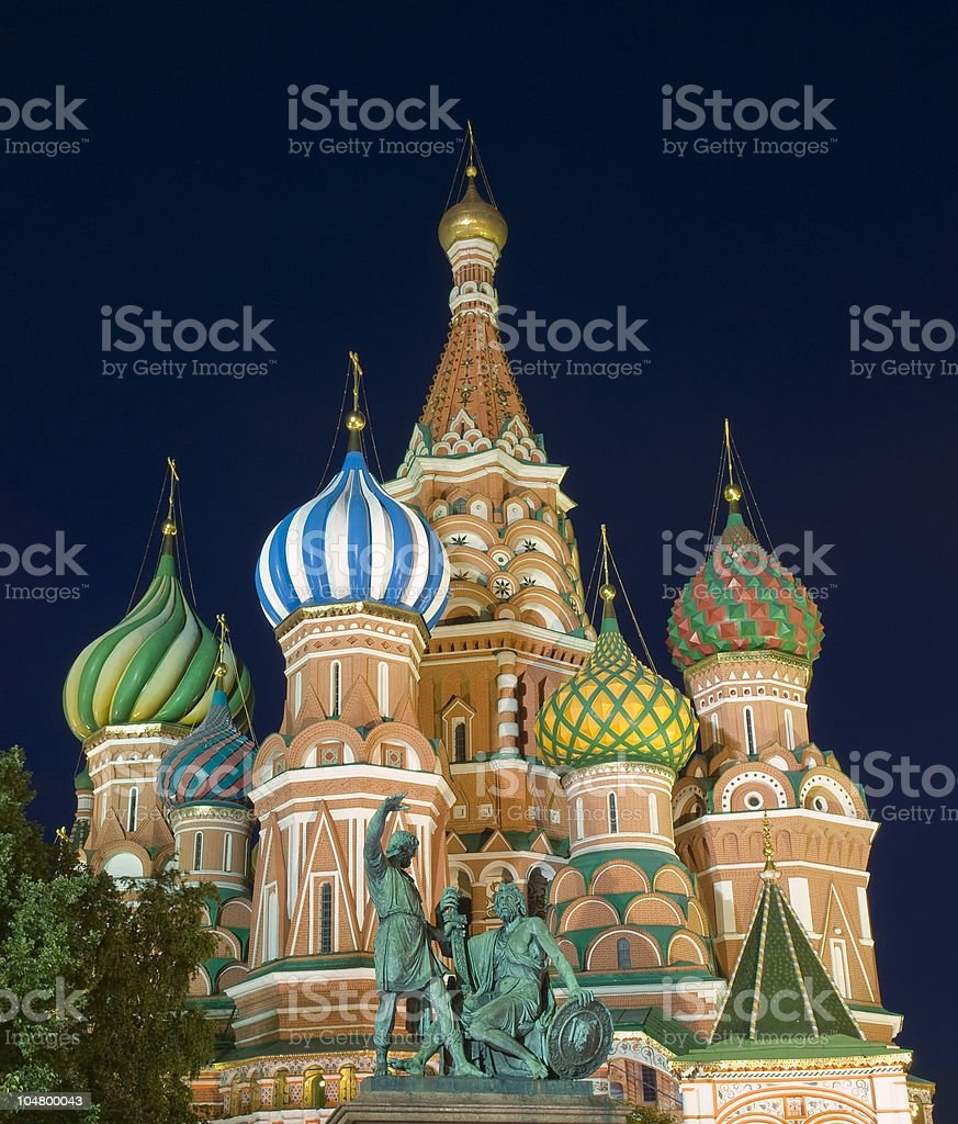 Saint Basil's Cathedral Moscow at Night stock photo