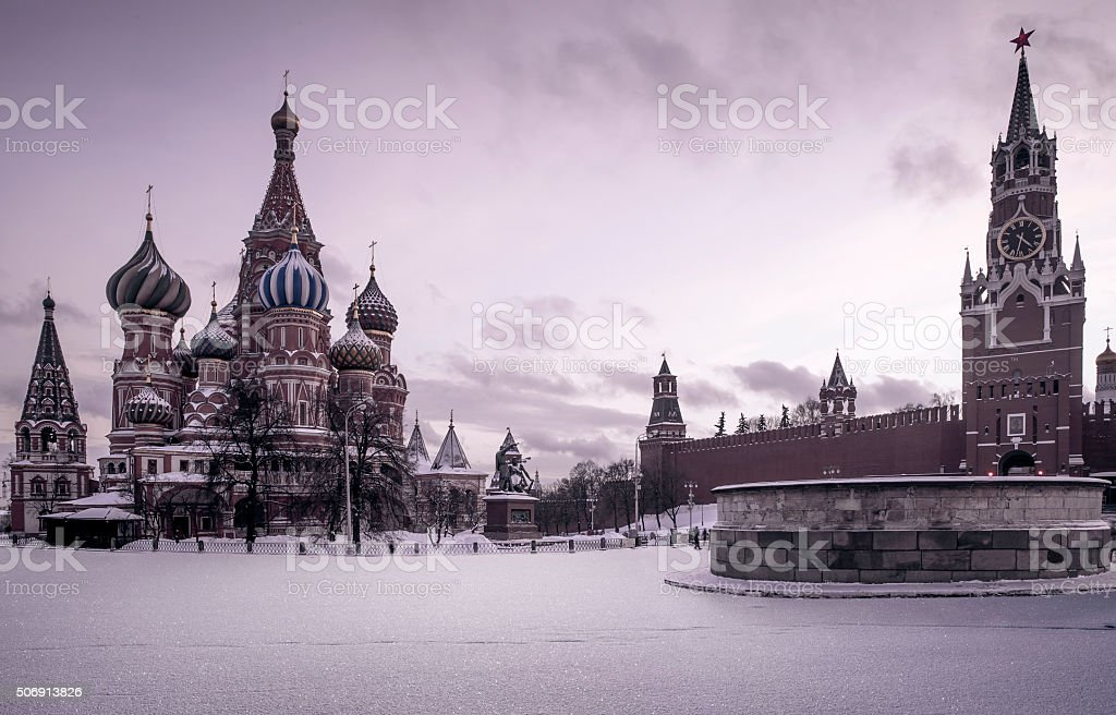 Saint Basil's Cathedral on Red Square in Moscow stock photo