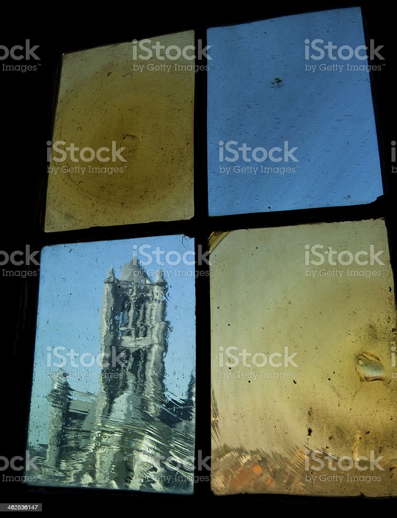 Saint Bavo Cathedral seen across gothic window royalty-free stock photo