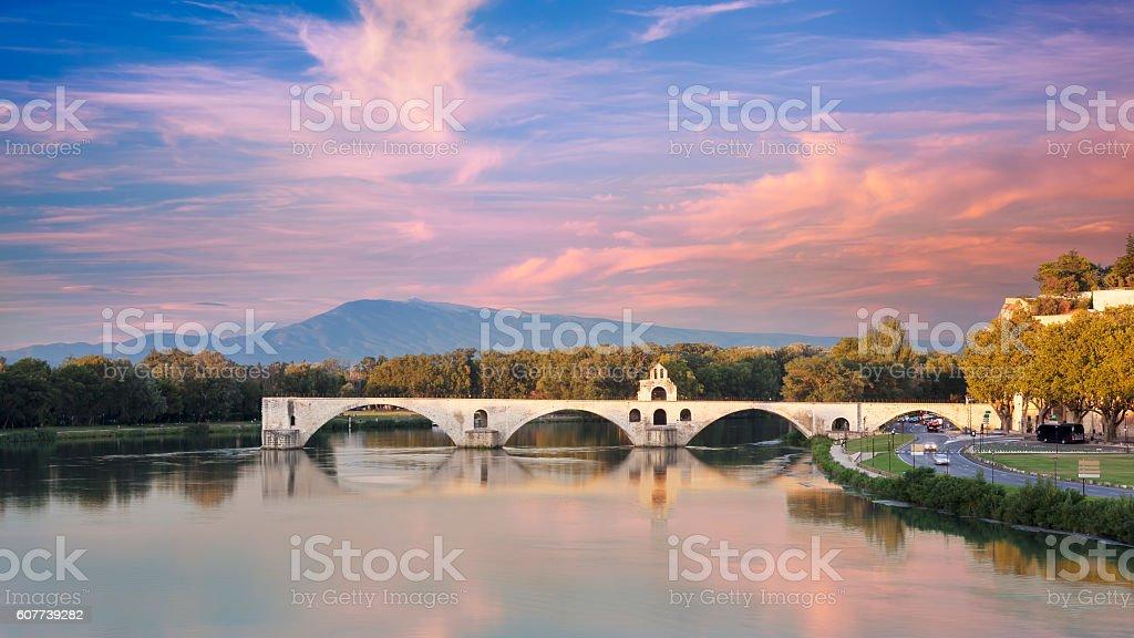Saint Benezet bridge with colored cloudy sky stock photo