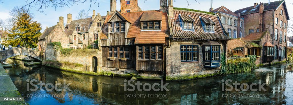 Saint Bonifacius Bridge in the Old Town of Bruges, Belgium stock photo