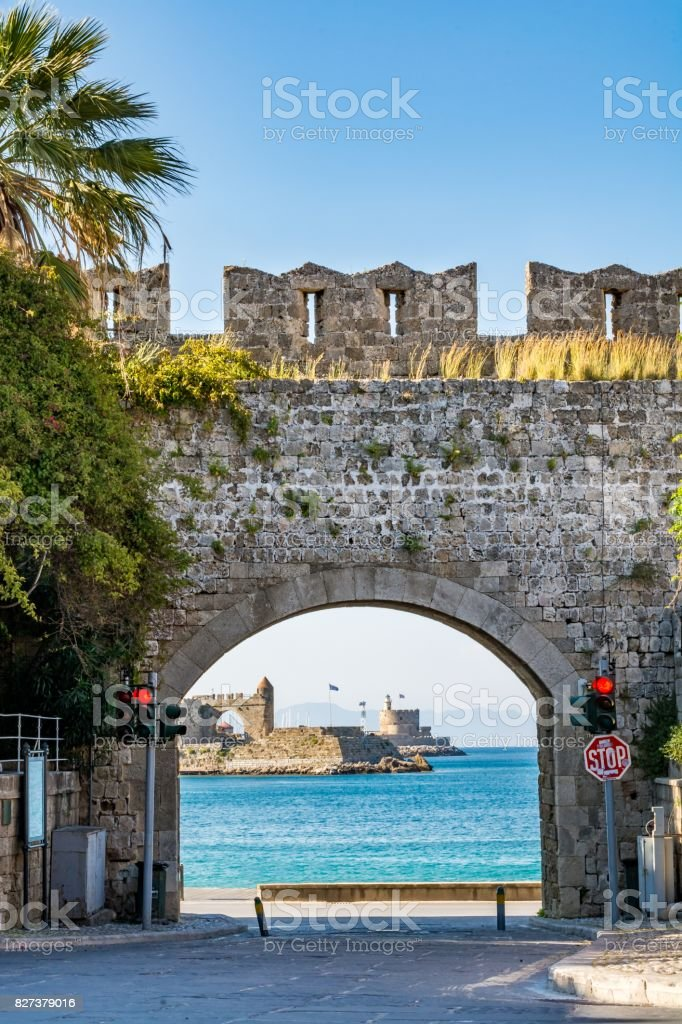 Saint Catherine Gate at Rhodes old town, Rhodes island, Greece stock photo