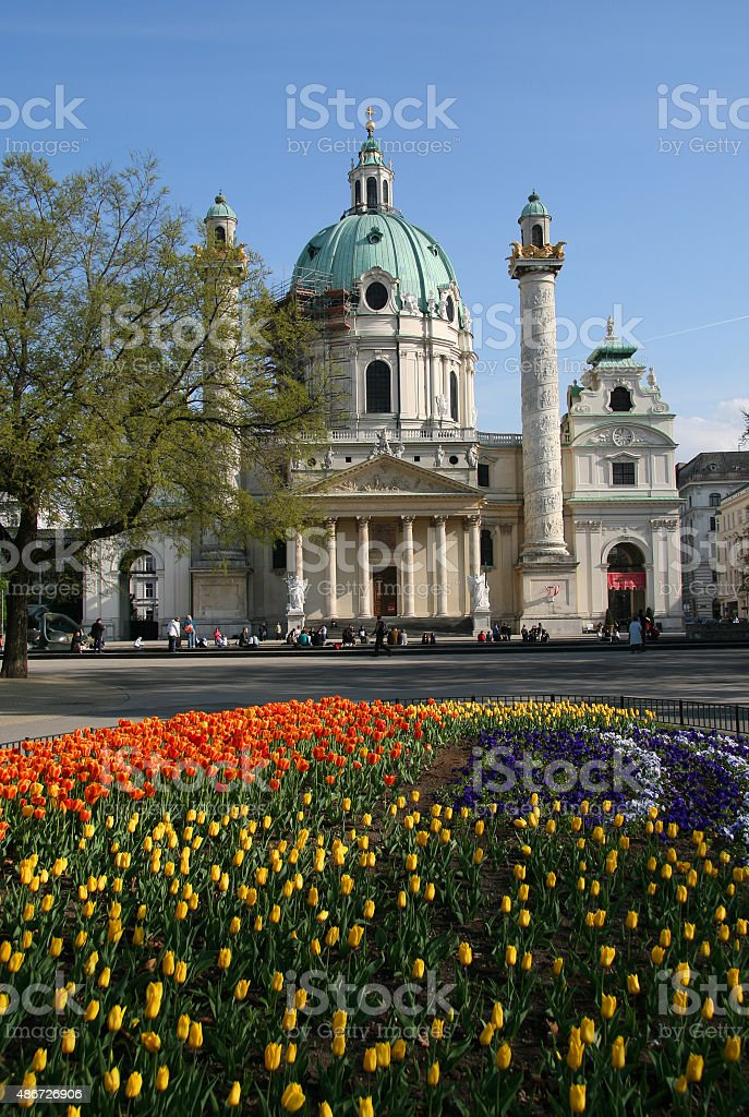 Saint Charles's Church in Viena, Austria stock photo