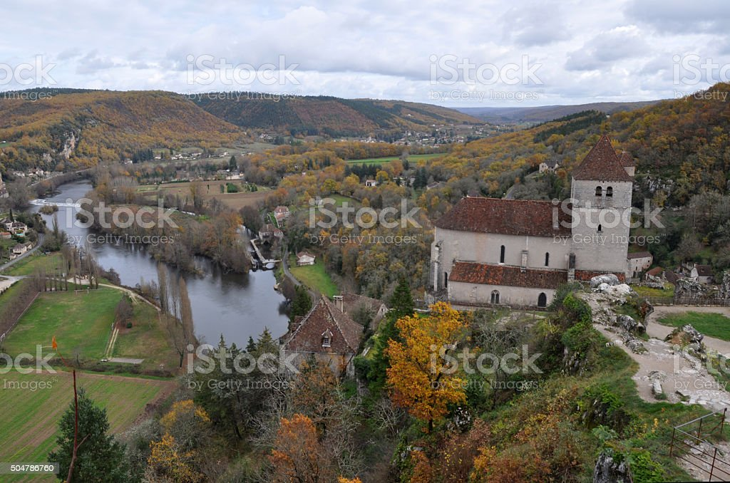 Saint Cirq Lapopie, France, midi-Pyrenees area, overview of village stock photo
