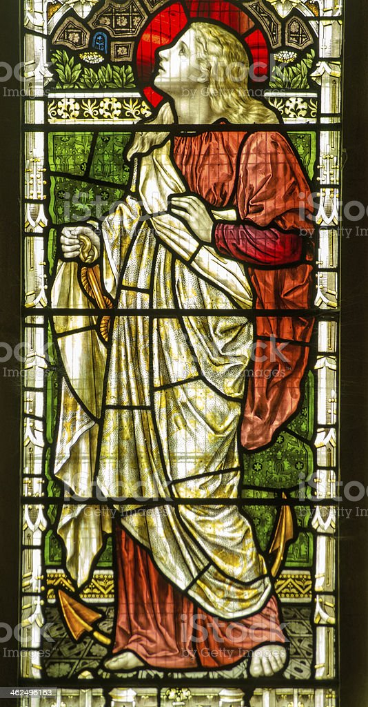 Saint Clement stained glass window stock photo