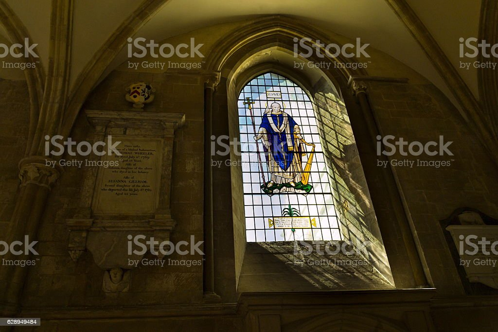 Saint David on stained glass window in Chichester Cathedral stock photo