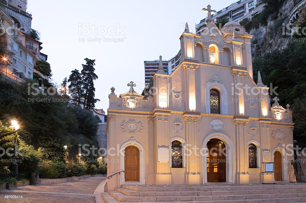 Saint Devota chapel Monte Carlo, Monaco in the evening stock photo