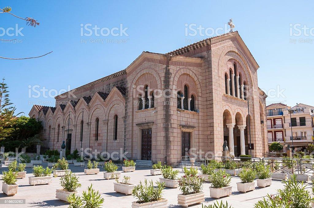 Saint Dionysios Church in Zakynthos city stock photo