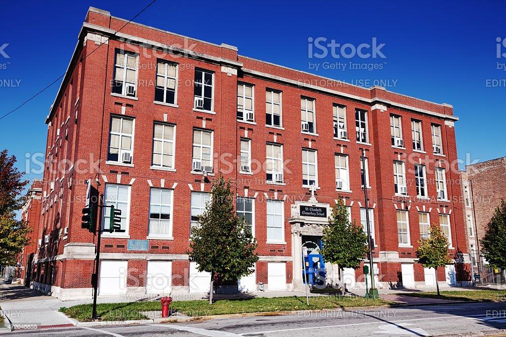Saint Elizabeth Elementary School in Grand Boulevard, Chicago stock photo