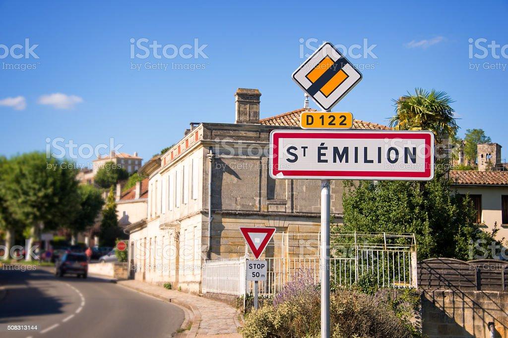 Saint Emilion roadsign, Bordeaux, France stock photo
