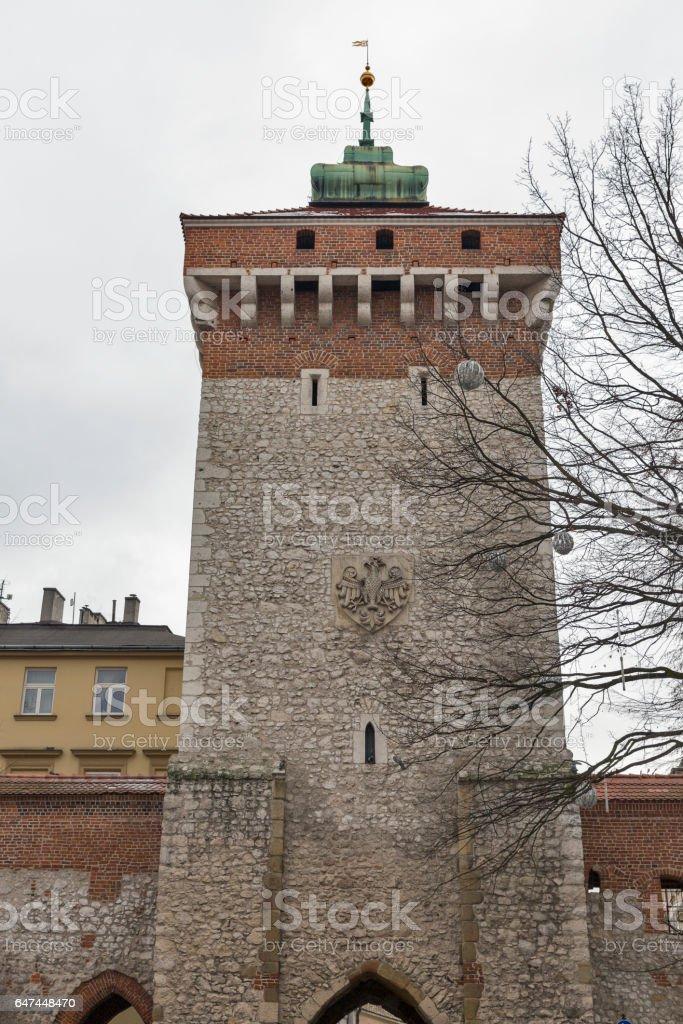 Saint Florian Gate in Krakow, Poland. stock photo