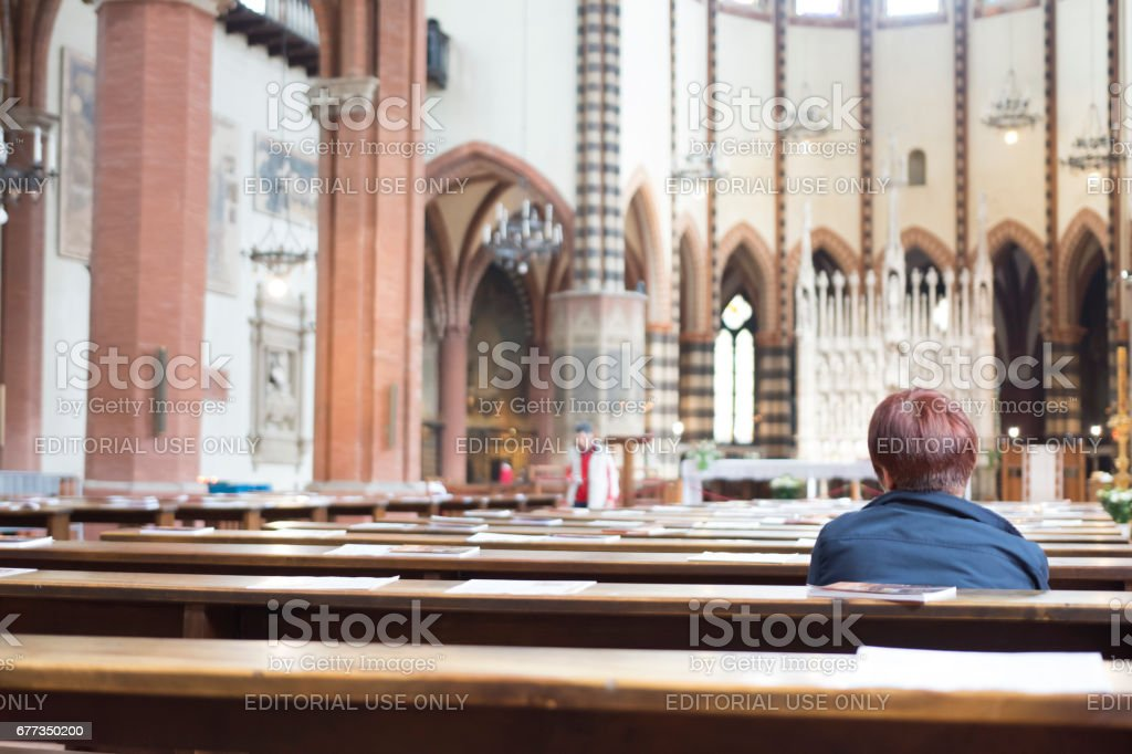 Saint Francis Cathedral in Bologna. stock photo