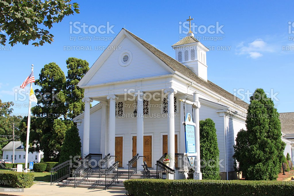 Saint Francis Xavier Church of Hyannis, Cape Cod, Massachusetts, USA. stock photo