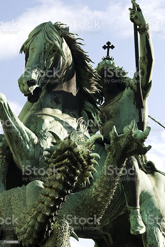 Saint George and the Dragon stock photo