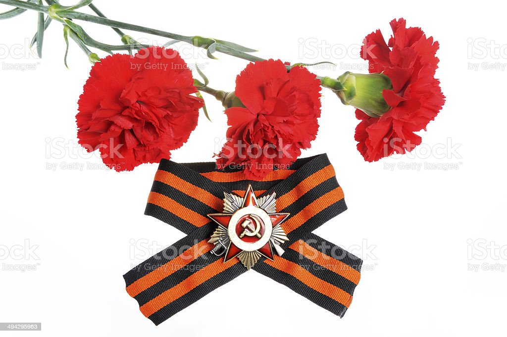 Saint George ribbon, order of Great Patriotic war, red carnations stock photo