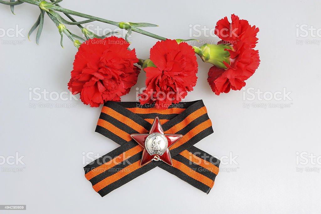 Saint George ribbon, Order of Red star and red carnations stock photo