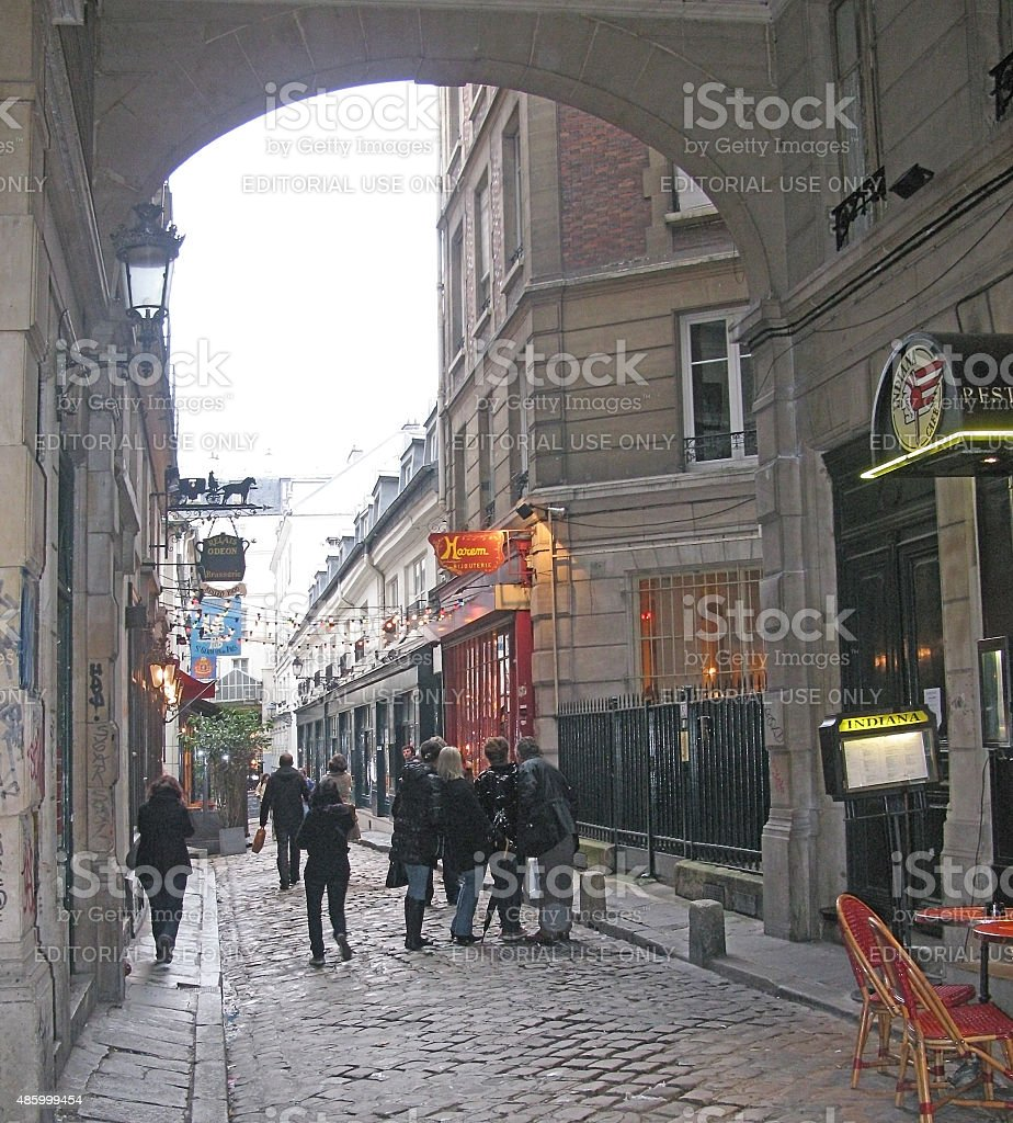 Saint Germain street view with signs stock photo