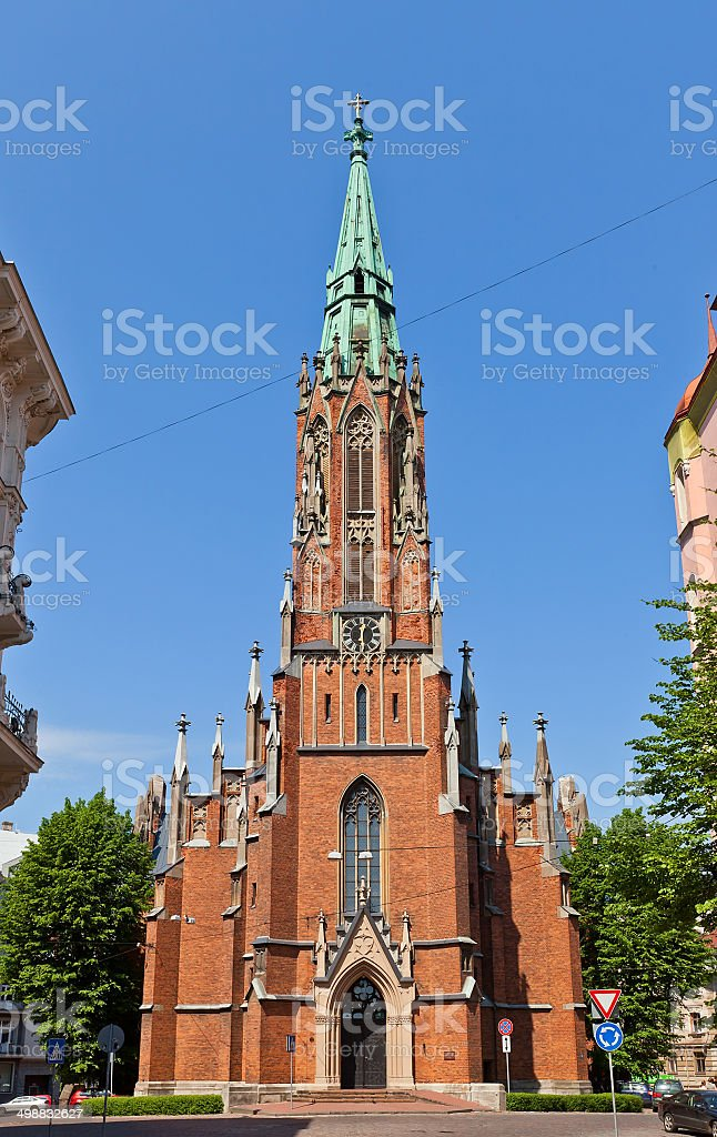 Saint Gertrude Old Church (1866) in Riga, Latvia stock photo
