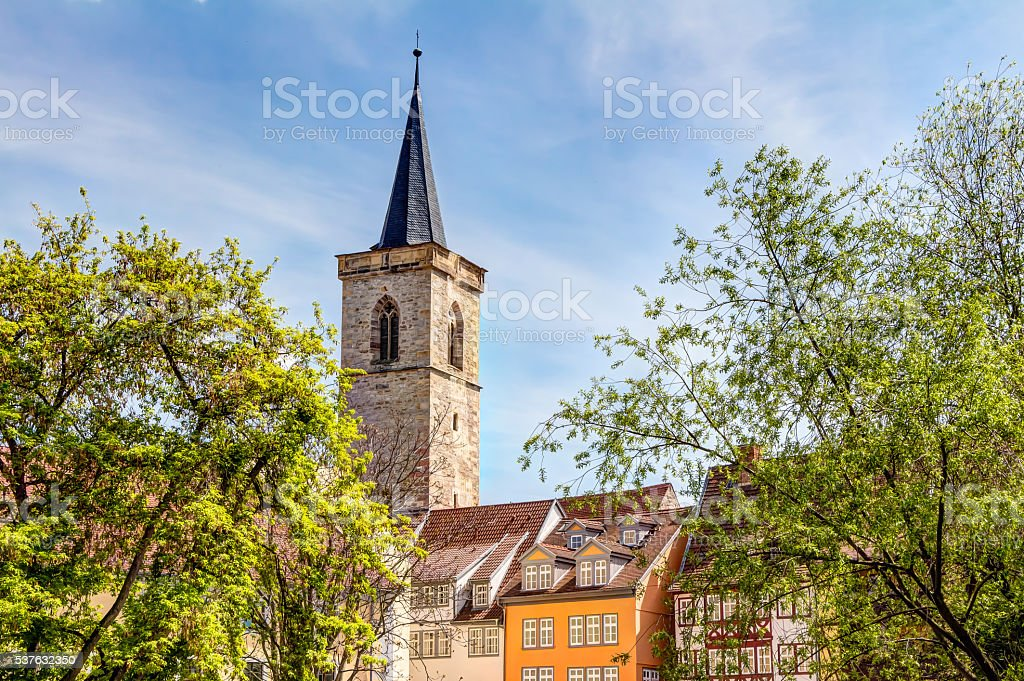 Saint Giles church and half-timbered houses in Erfurt stock photo
