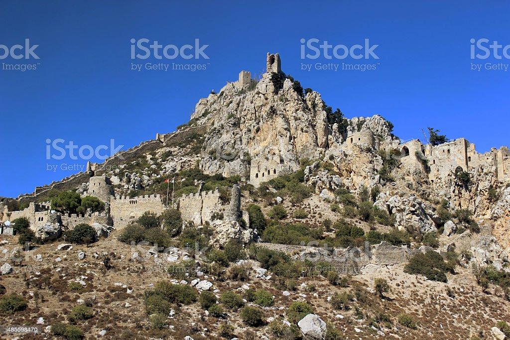 Saint Hilarion Castle on mountain in Cyprus. stock photo
