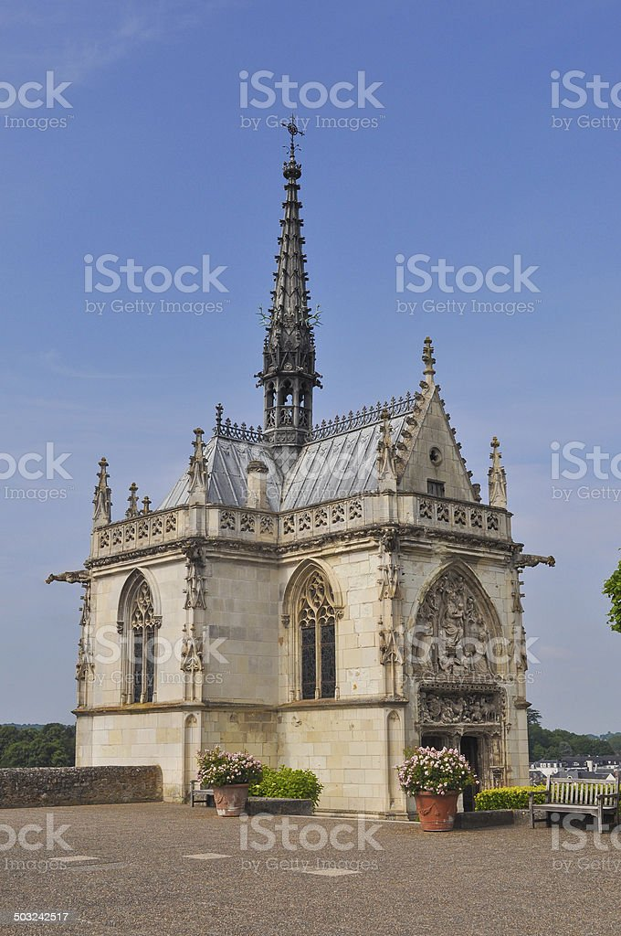Saint Hubert chapel at Royal Chateau at Amboise stock photo