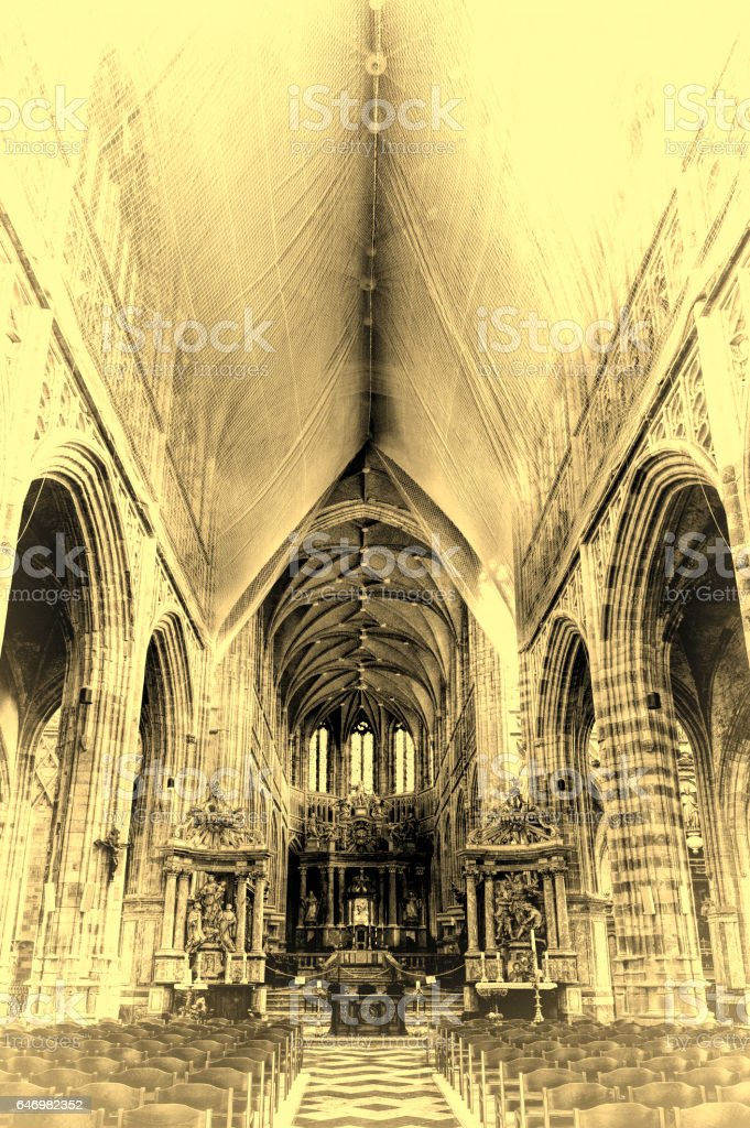 Saint Hubrt's Church Interior stock photo