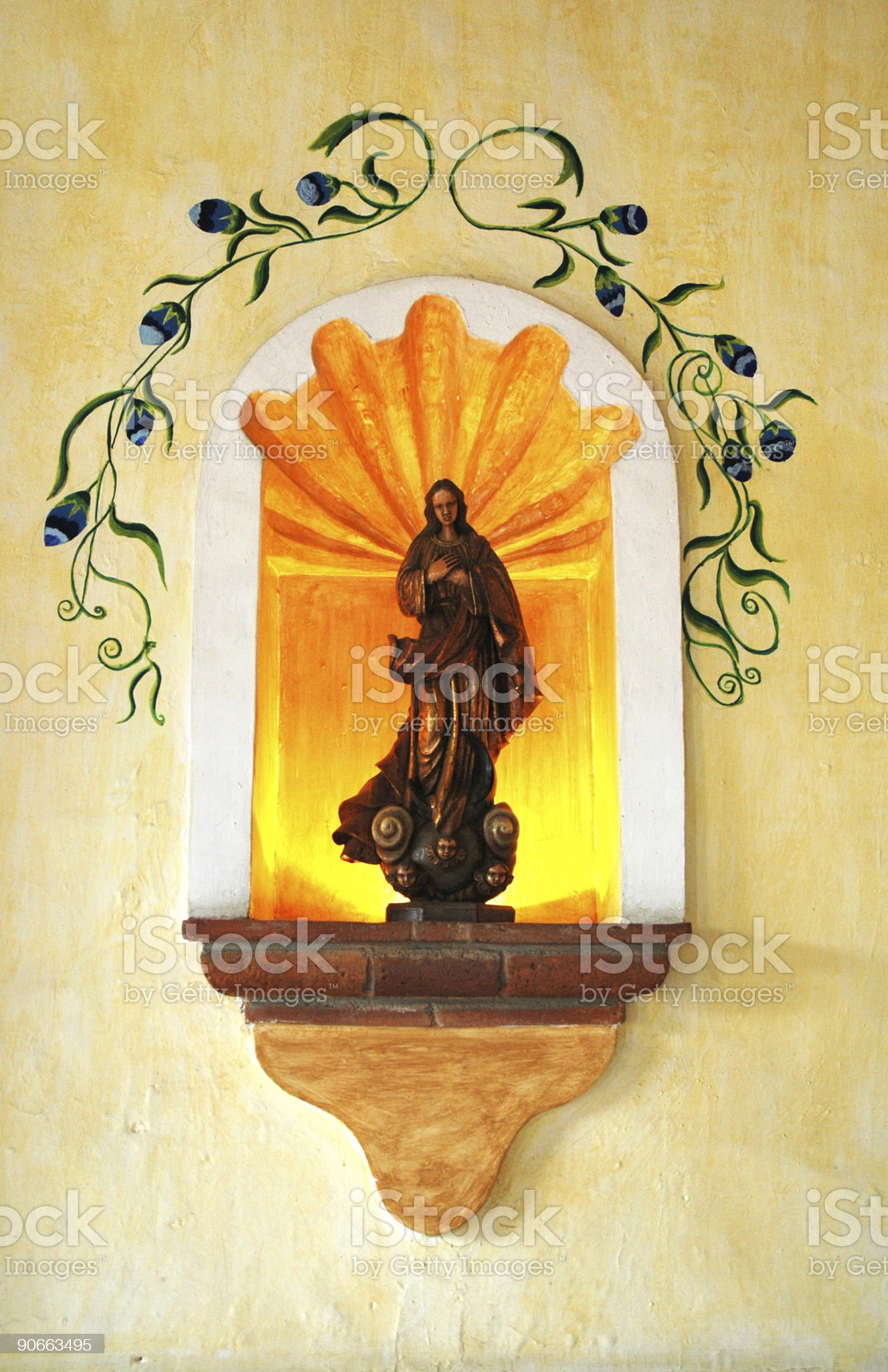 saint in wall niche royalty-free stock photo