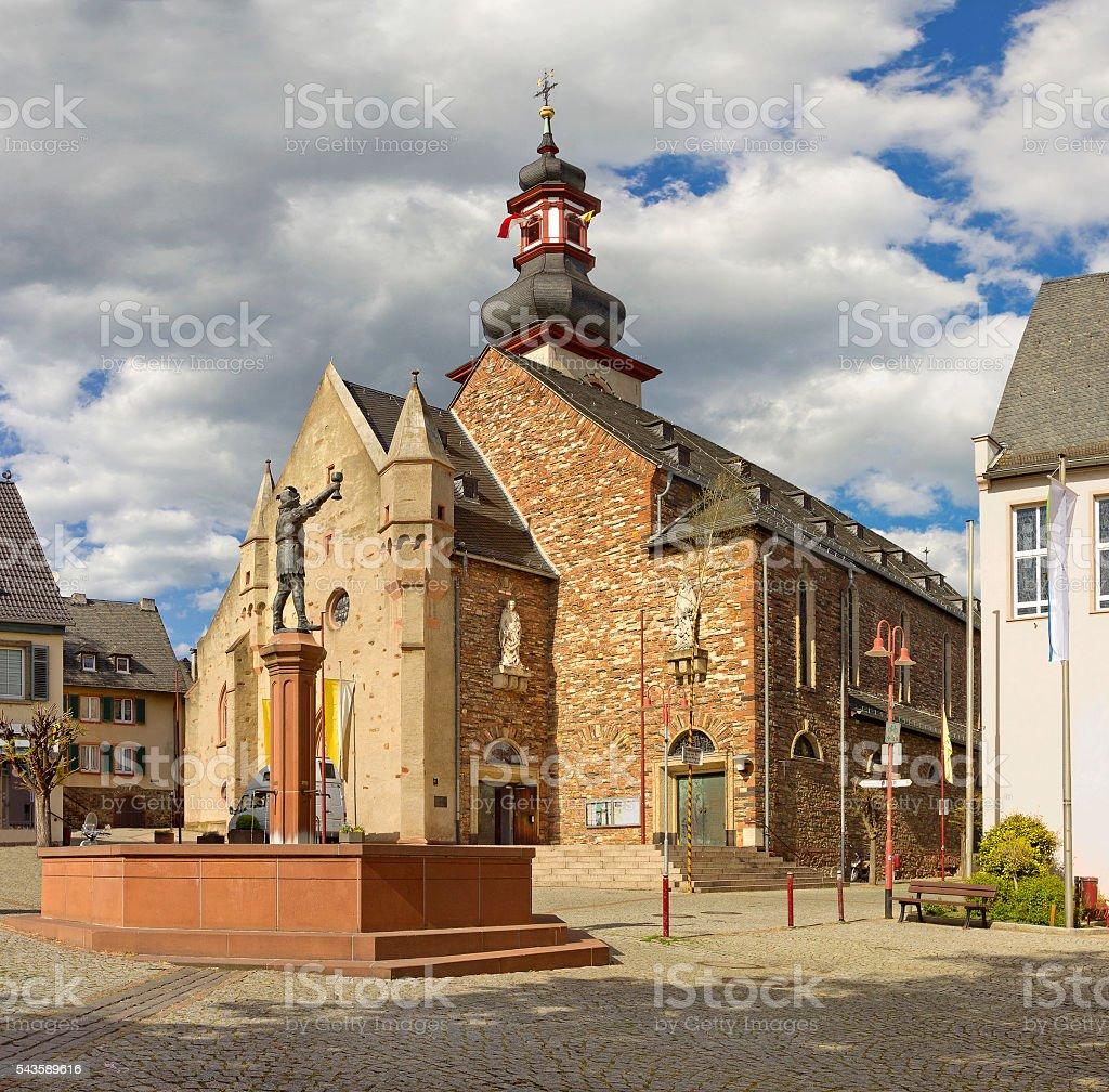 Saint James's Parish Church in Ruedesheim am Rhein, Germany stock photo