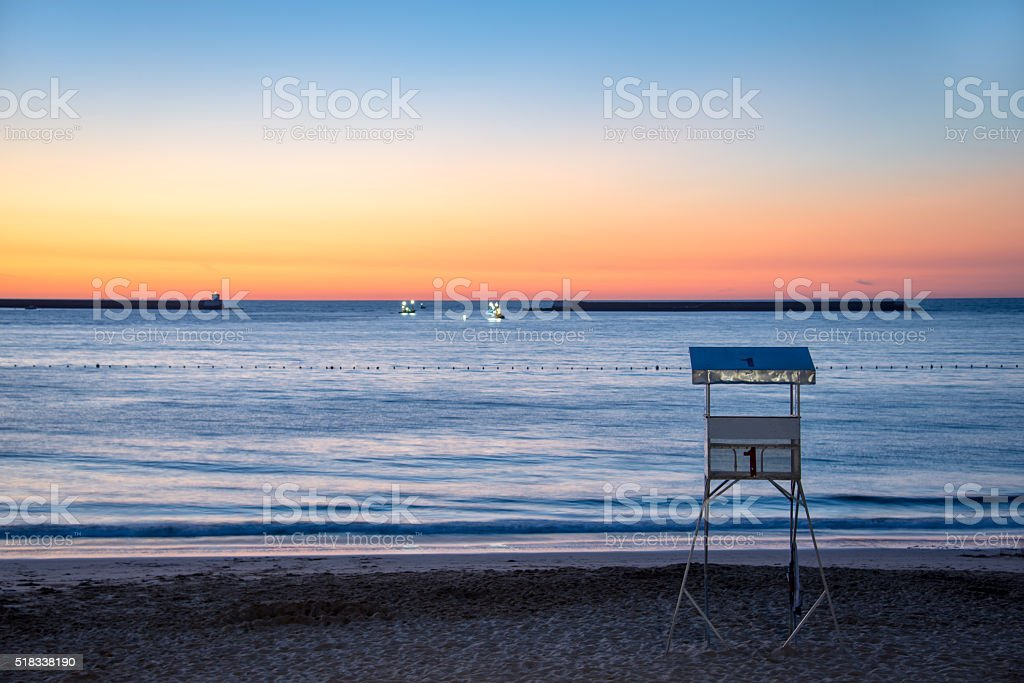 Saint Jean de Luz beach at sunset, France stock photo