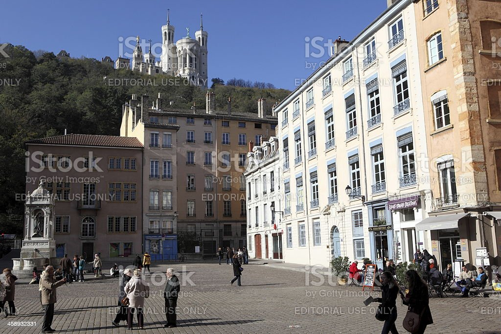 Saint Jean place in Lyon, France royalty-free stock photo