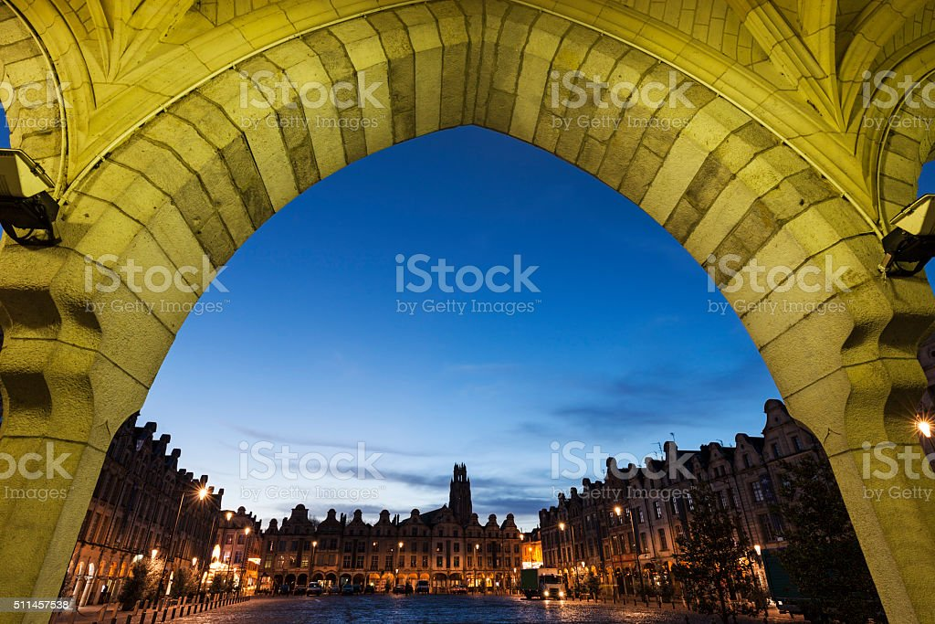 Saint Jean-Baptiste Church in Arras seen from Place des Heros stock photo
